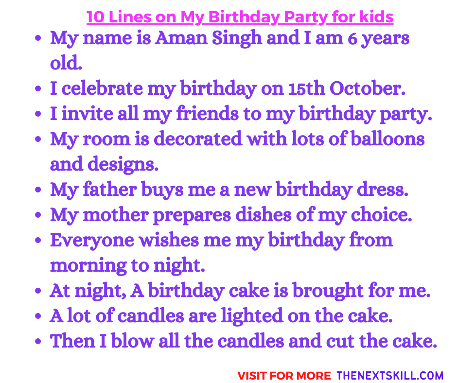 10 Lines on my birthday party for class 3