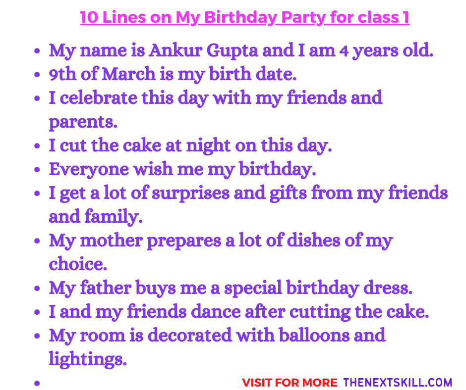 10 Lines On My Birthday Party For Class 1