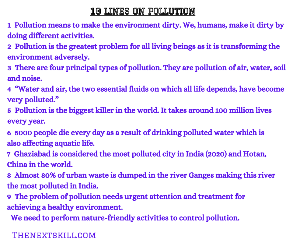 Essay on pollution | 10 lines
