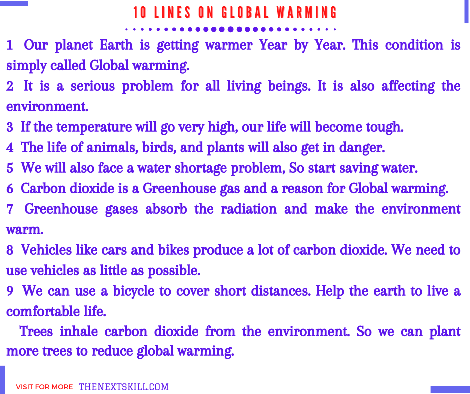 10 lines Essay on Global warming