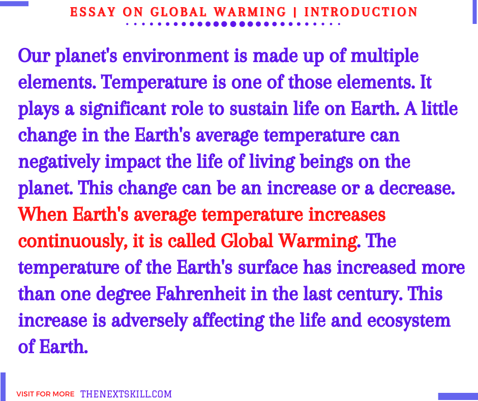 Essay on global warming | Introduction