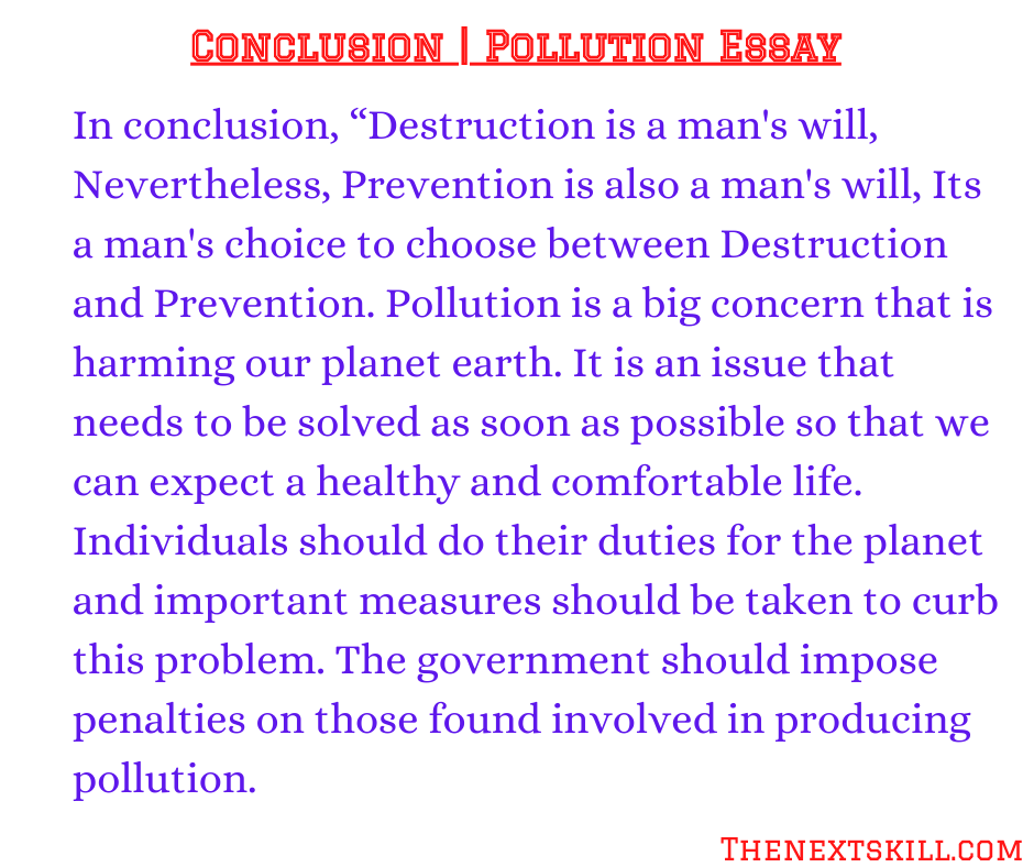 Essay on Pollution | Conclusion