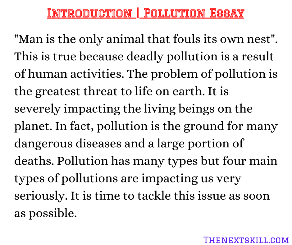 Pollution Essay | Introduction