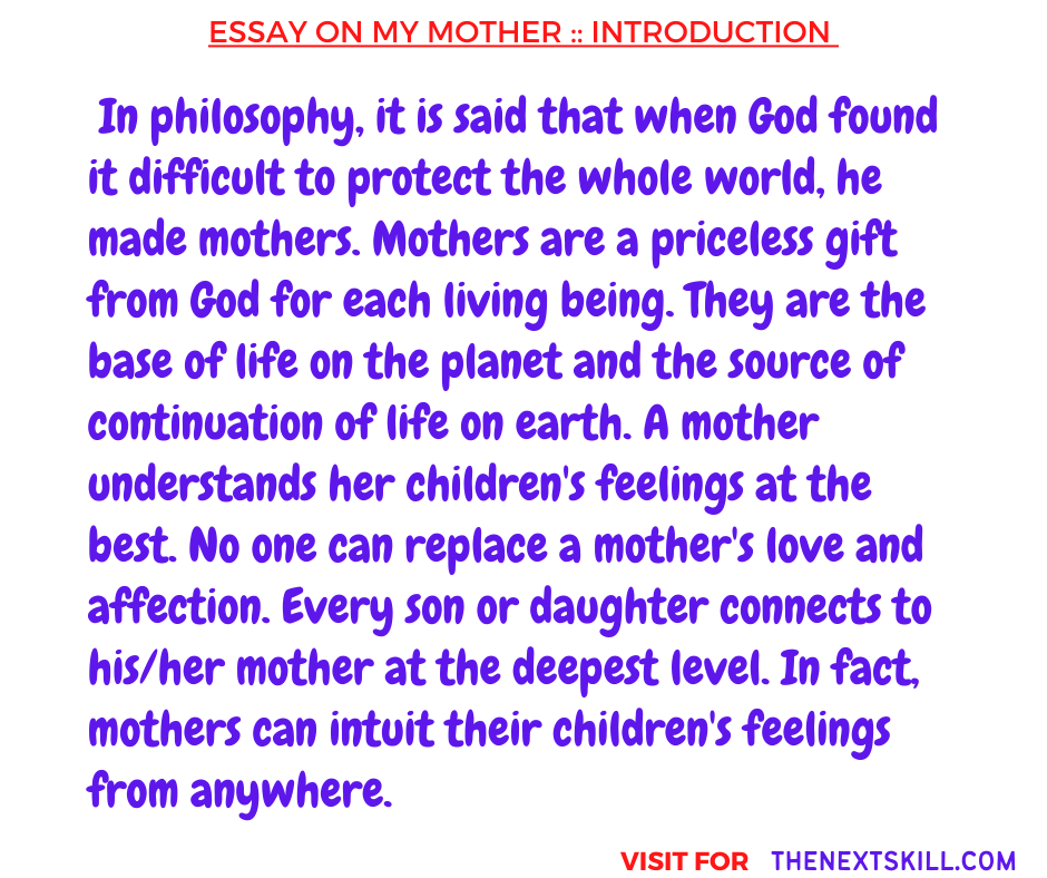 Essay On My Mother | Introduction
