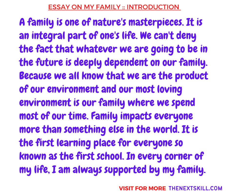Essay on My family | Introduction