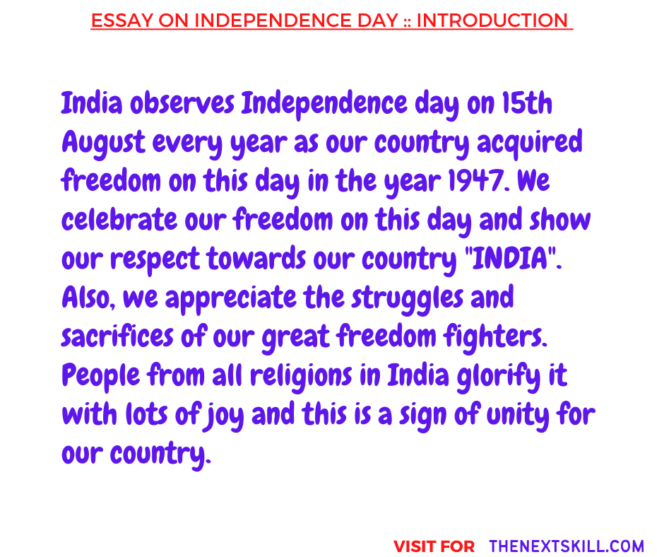 Essay on Independence Day   Introduction