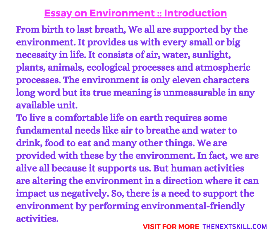 Essay On Environment | Introduction