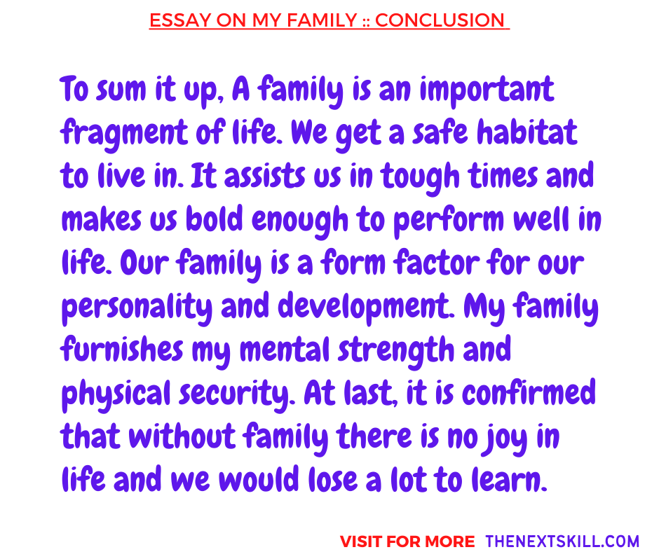 Essay on My family | Conclusion