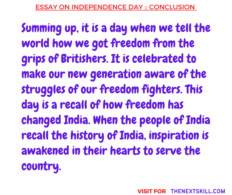 Essay on Independence Day   Conclusion