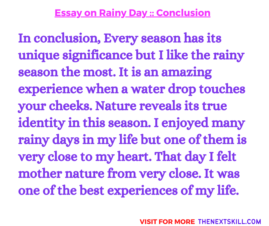 Essay On Rainy Day   Conclusion