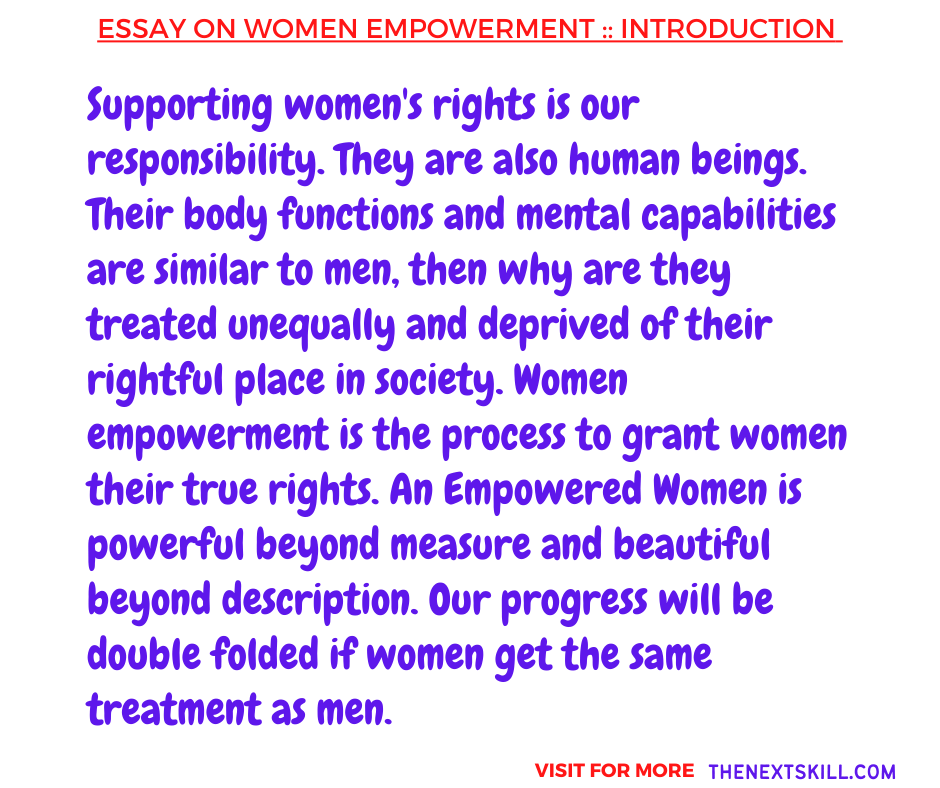 Essay On Women Empowerment   Introduction