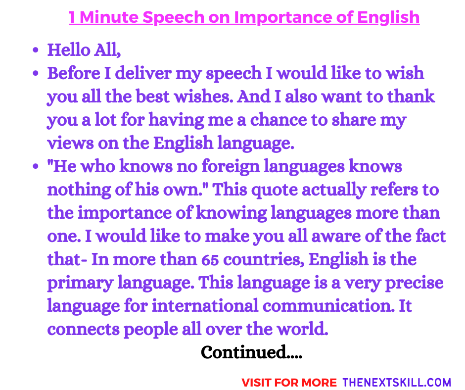 1 Minute speech on Importance of english