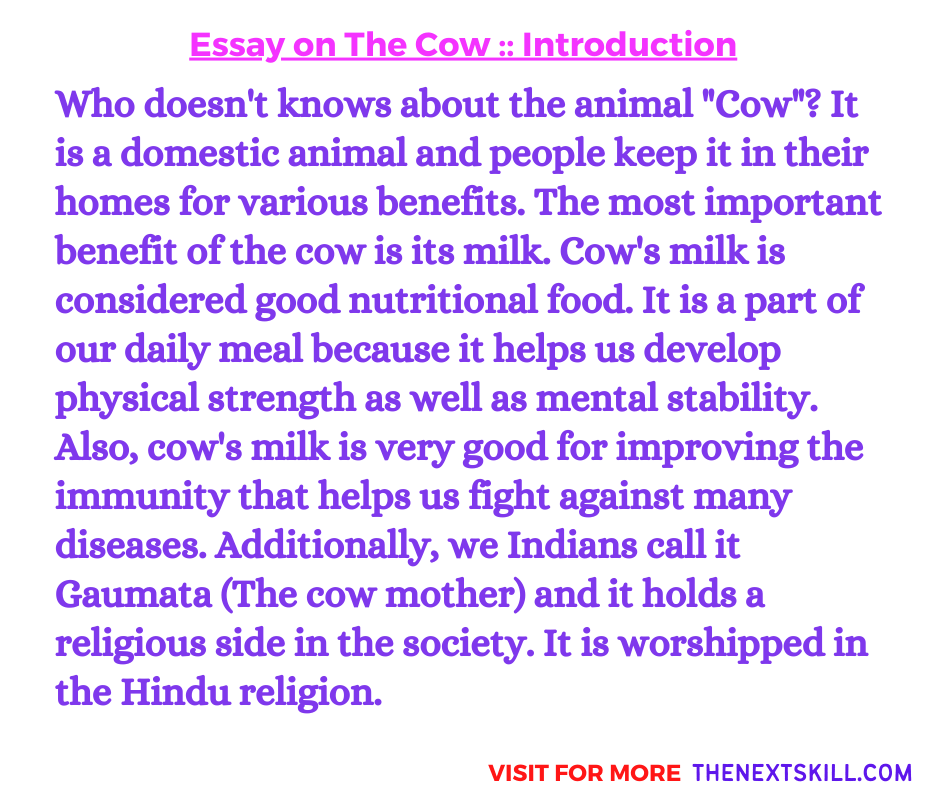 Essay On The Cow   Introduction