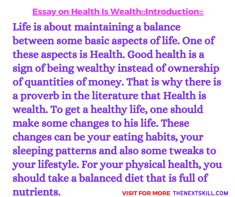 Essay On Health Is Wealth | Introduction