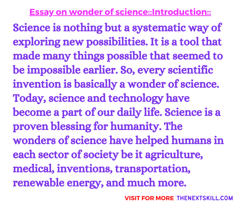 Essay On Wonder Of Science | Introduction
