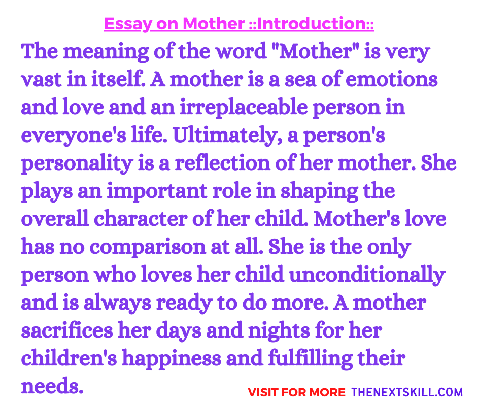 Essay on Mother | Introduction