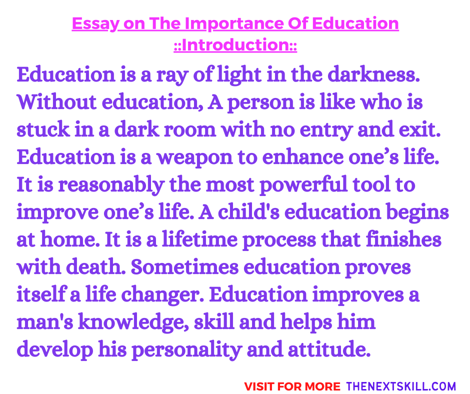 Essay On The Importance Of Education | Introduction