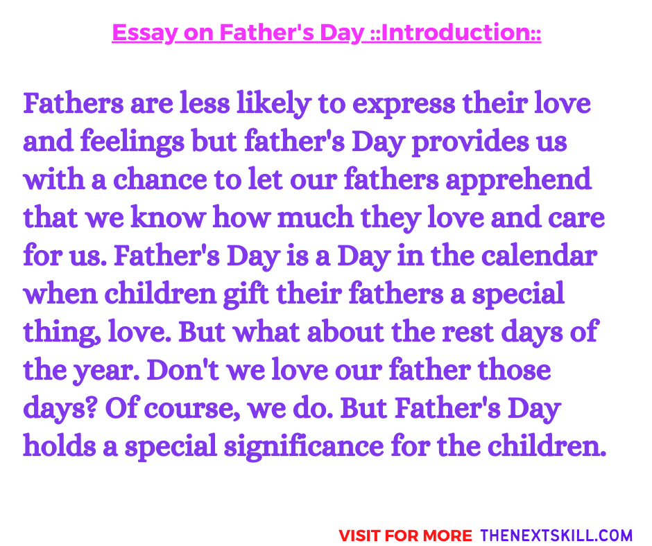 Essay On Father's Day | Introduction