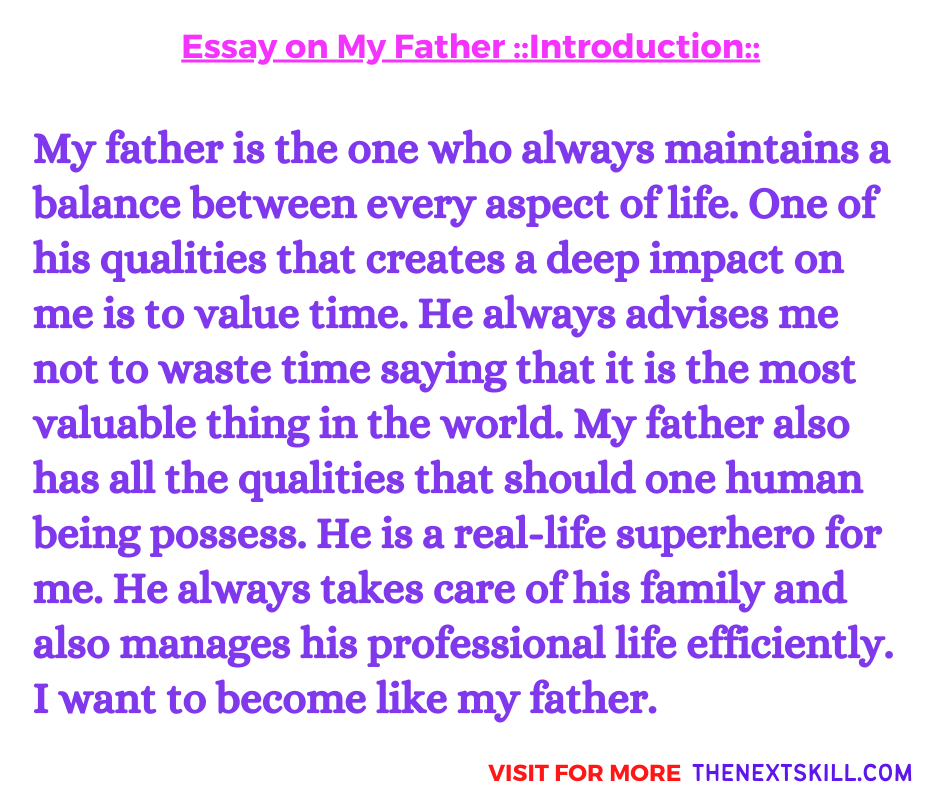 Essay On My Father | Introduction