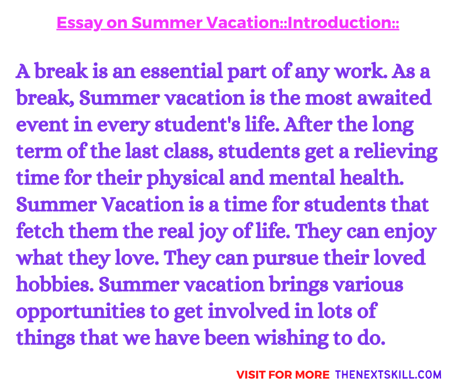 Essay on Summer Vacation | Introduction