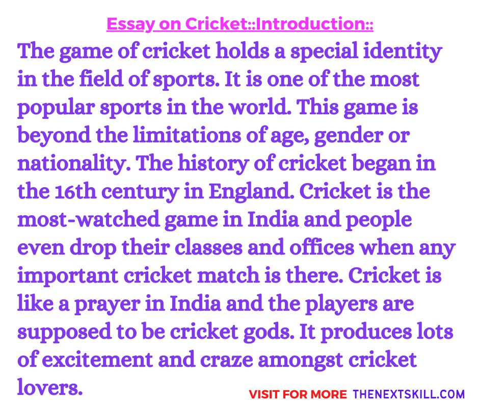 Essay On Cricket | Introduction