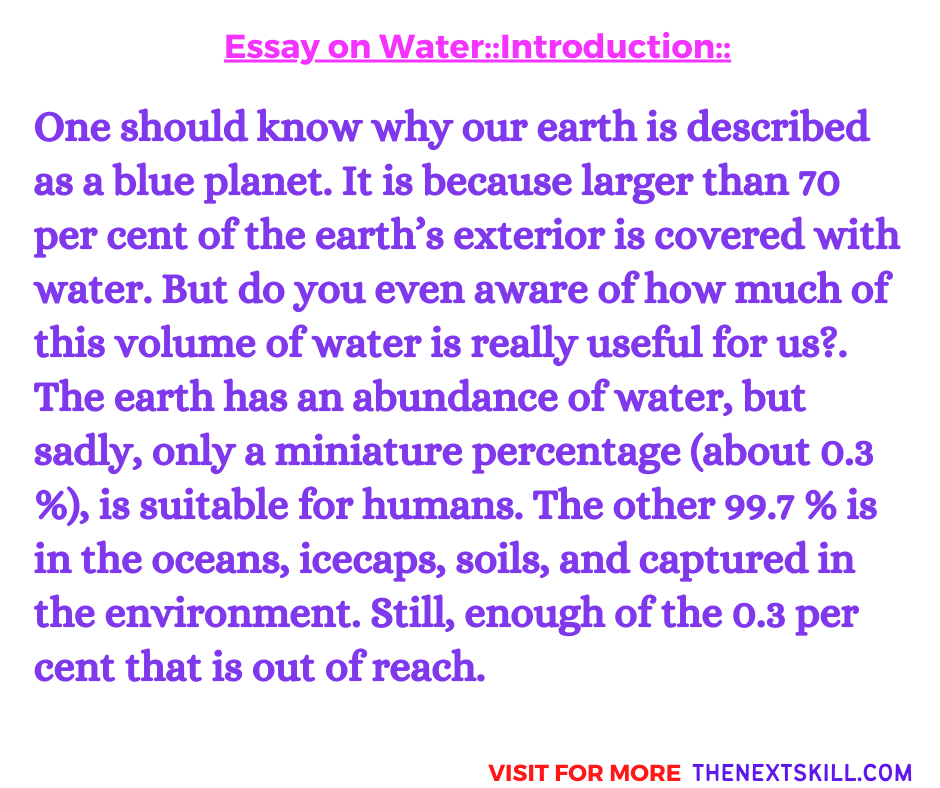 Essay on Water   Conclusion