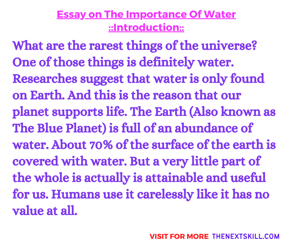 Essay on The Importance Of Water   Introduction