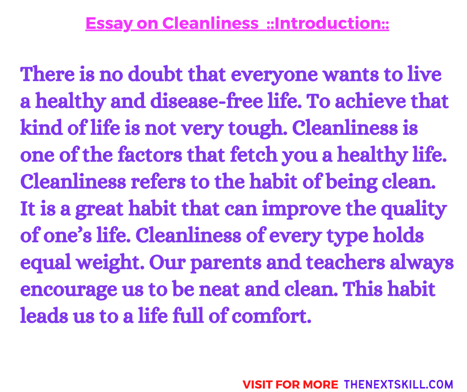 Essay on Cleanliness   Introduction