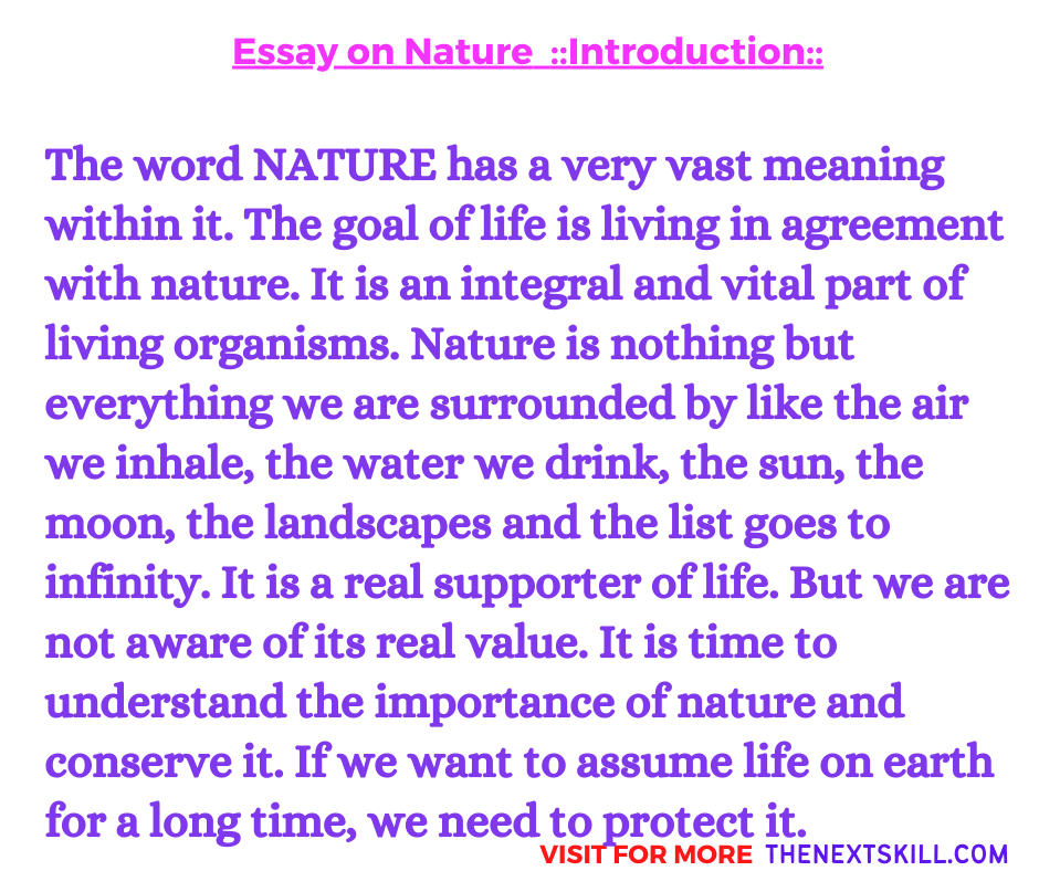 Essay on Nature | Introduction