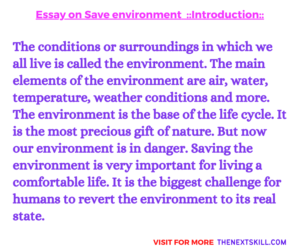 Essay on Save Environment | Introduction