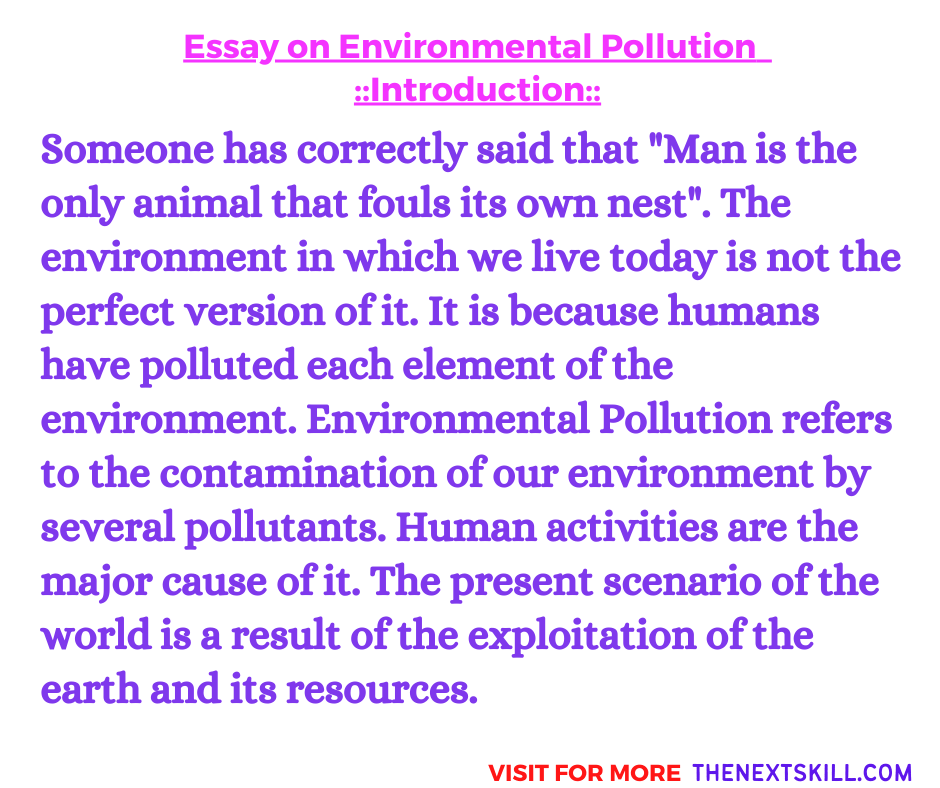 Essay on Environmental Pollution | Introdcudction