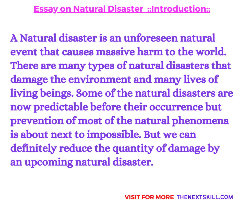 Essay On Natural Disaster | Introduction