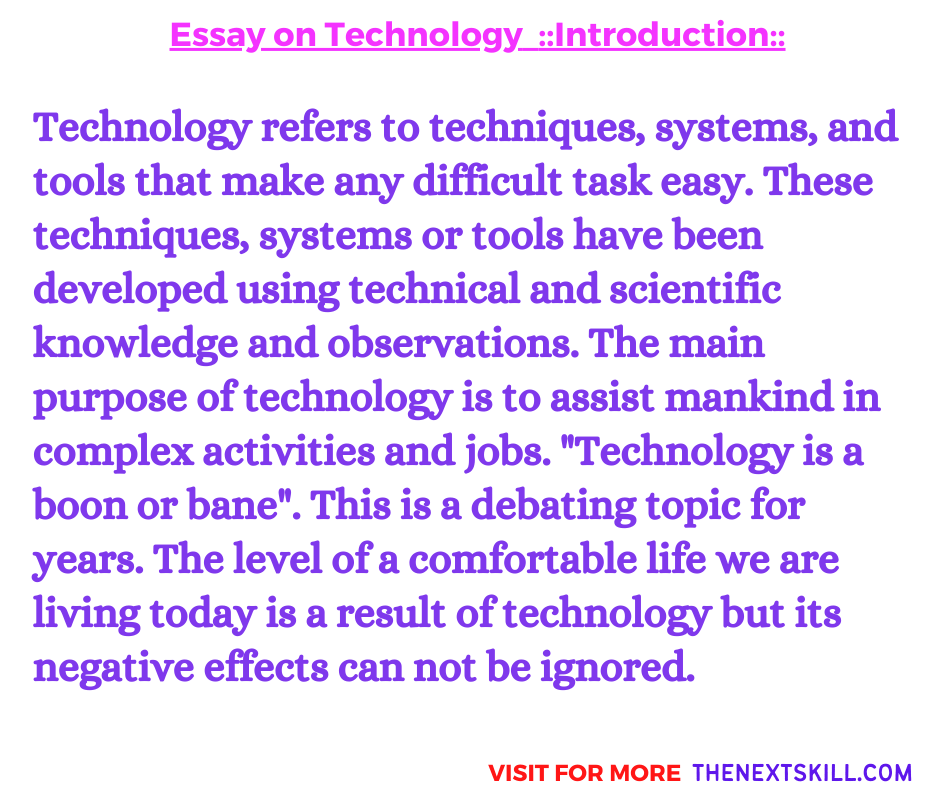 Essay on Technology | Introduction