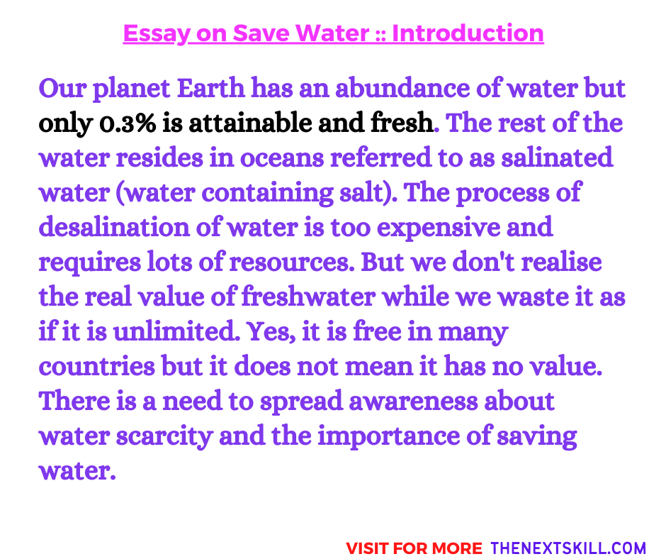 Essay On Save Water | Introduction