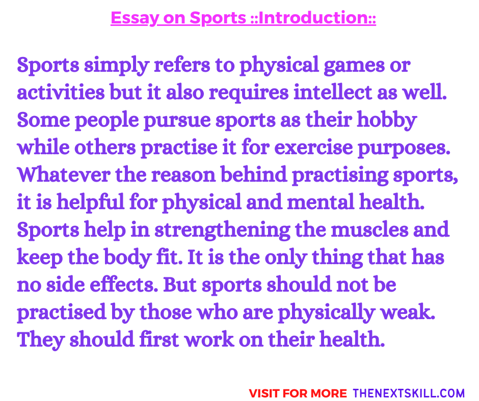 Essay on Sports and Games   Introduction