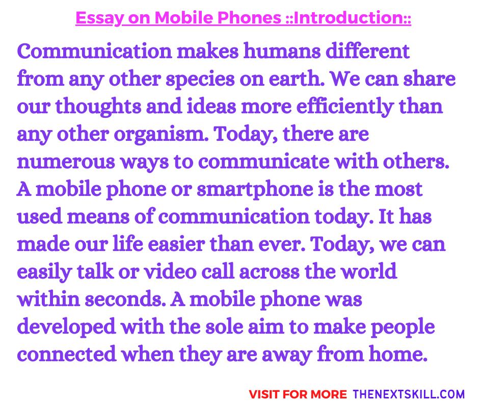 Essay on Mobile Phone   Introduction