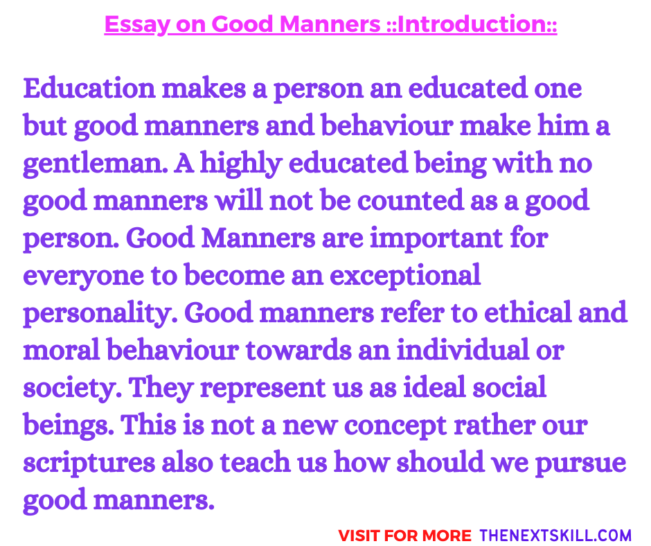 Essay on Good Manners | Introduction