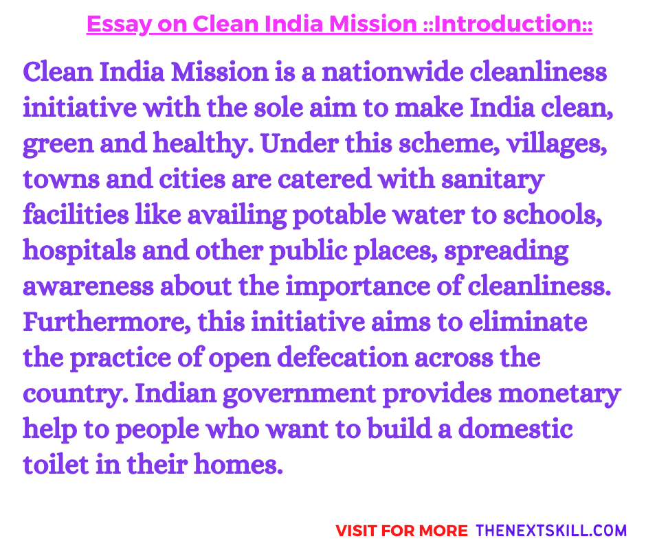Essay on Clean India Mission | Introduction