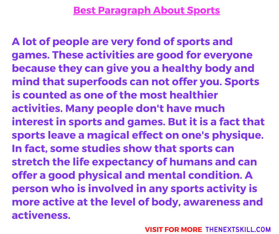 Best Paragraph About Sports