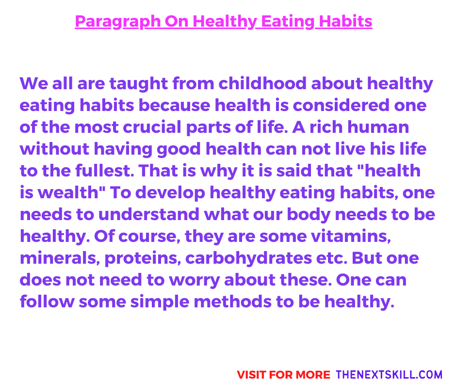 Paragraph On Healthy Eating Habits