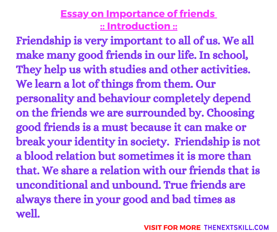 Essay On Importance Of Friends | Introduction
