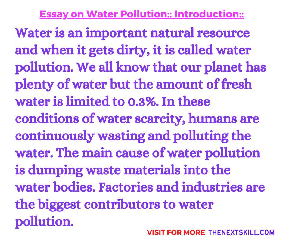 Essay On Water Pollution | Introduction
