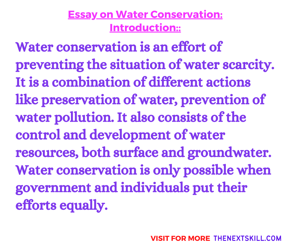 Essay On Water Conservation | Introduction