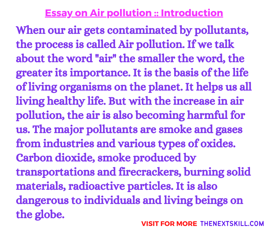 Essay On Air Pollution | Introduction