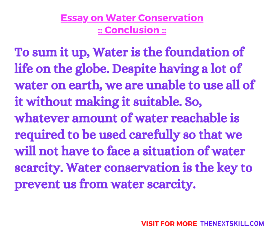 Essay On Water Conservation | Conclusion