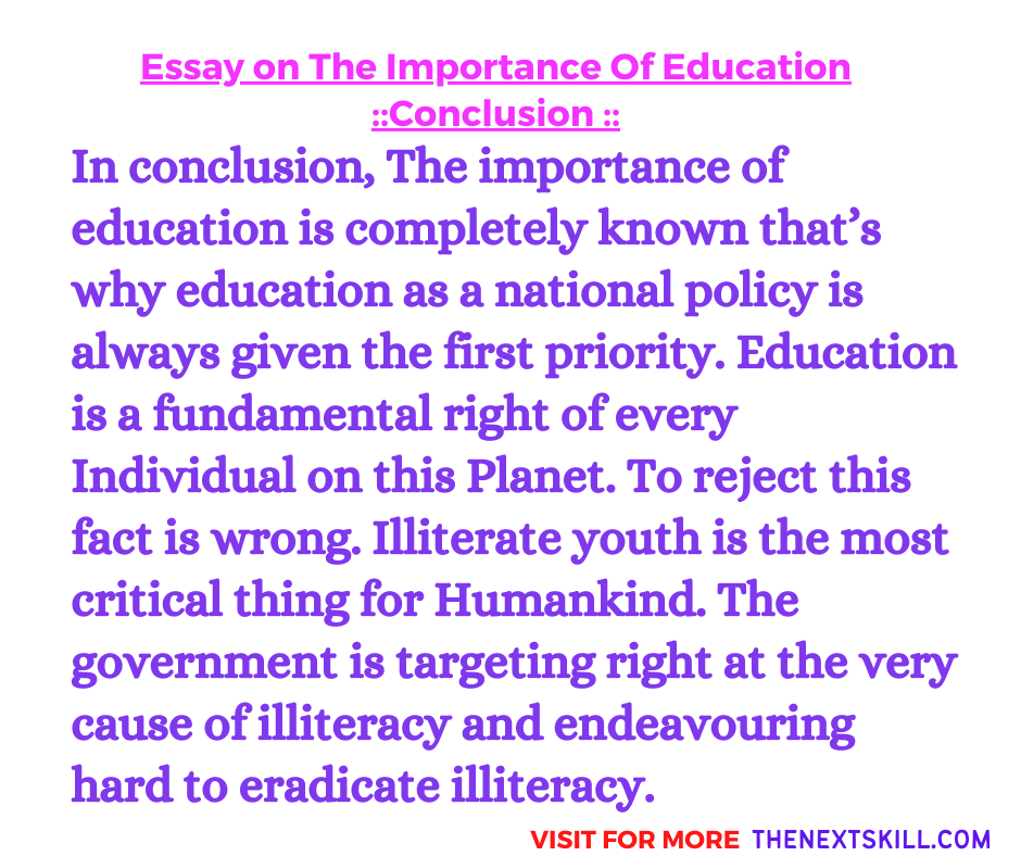 Essay On The Importance Of Education | Conclusion