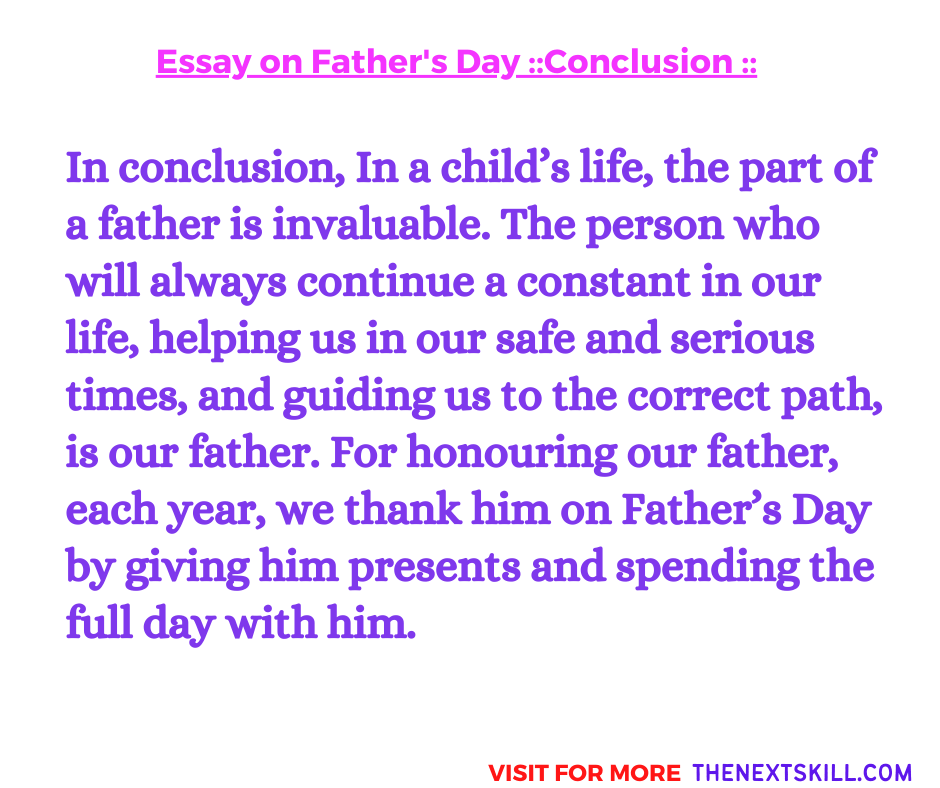 Essay On Father's Day | Conclusion