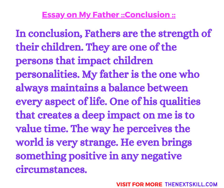 Essay On My Father | Conclusion