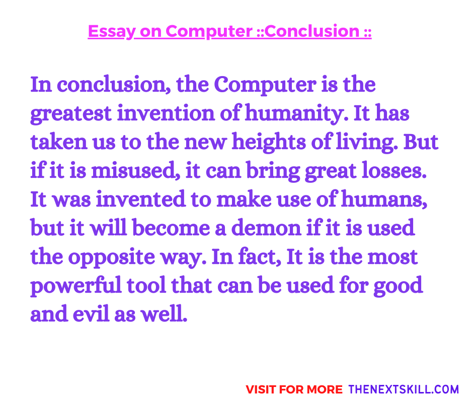 Essay On Computer | Conclusion