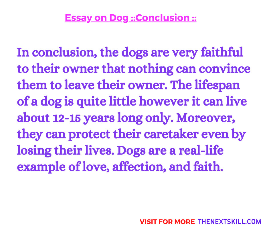 Essay on Dog   Conclusion